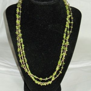 Peridot gemstone multi strand beaded necklace